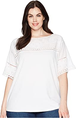 Plus Size Eyelet Cotton-Blend T-Shirt