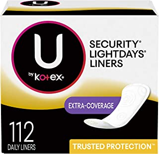 U by Kotex Lightdays Panty Liners, Extra Coverage, Unscented, 112 Count