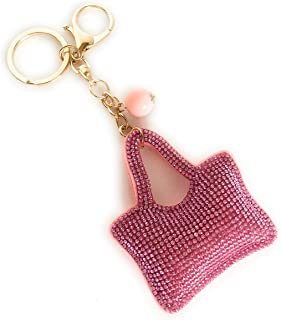 Cute Pink Cushion Keychain bag for Women Handbag Charms Accessories Purse Car Keys.