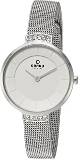 Obaku Women's Analog-Quartz Watch with Stainless-Steel Strap, Silver, 10 (Model: V177LECIMC)