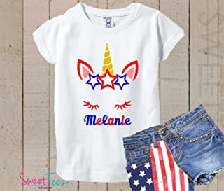 4th Of July Tshirt For Girls - Personalized Unicorn Shirt - Fourth Of July Tshirt