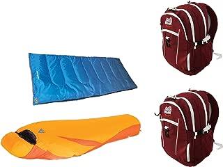 Alpinizmo High Peak USA Latitude 0 and Ceduna 20 Sleeping Bags + 2 Backpacks Combo, Red/Orange/Blue, One Size
