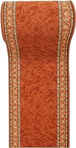 Alfombra De Pasillo Antideslizante - Color Naranja Beige De Diseño Bordura - Mejor Calidad - Diferentes Dimensiones S-XXXL 80 x 500 cm