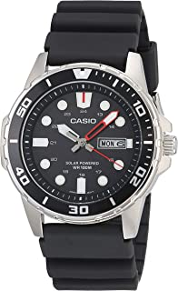 Casio Men's Solar Powered Stainless Steel Quartz Resin Strap, Black, 22 Casual Watch (Model: MTP-S110-1AVCF)