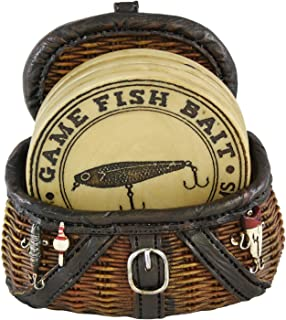 Pine Ridge Fisherman Fishing Creel Cool Table Drink Coaster Set Of 4 With Fishing Basket Base - Unique Funky Beverage Non-slip Coaster Home Decor Gift Ideas