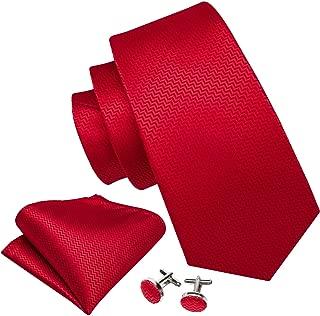 Barry.Wang Red Gold Ties,Christmas Handkerchief Cufflink Necktie Set Gifts for Men