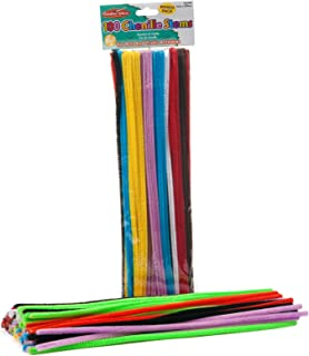 Creative Arts by Charles Leonard Chenille Stems, Jumbo Fluffy Thick Stem, 6 MM x 12 Inch, Assorted Colors, 100/Bag (65600)