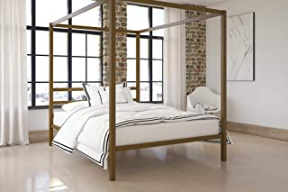 DHP Modern Canopy Bed with Built-in Headboard, Classic Design, Queen Size, Gold
