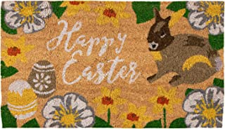 Natural Coir Door Mat - Happy Easter Indoor Outdoor Welcome Doormat, Easy Clean, PVC Anti-Slip Backing Front Entry Mats, Bunny, Easter Eggs, Spring Flowers Design, Brown, 17.2 x 30 x 0.5 Inches