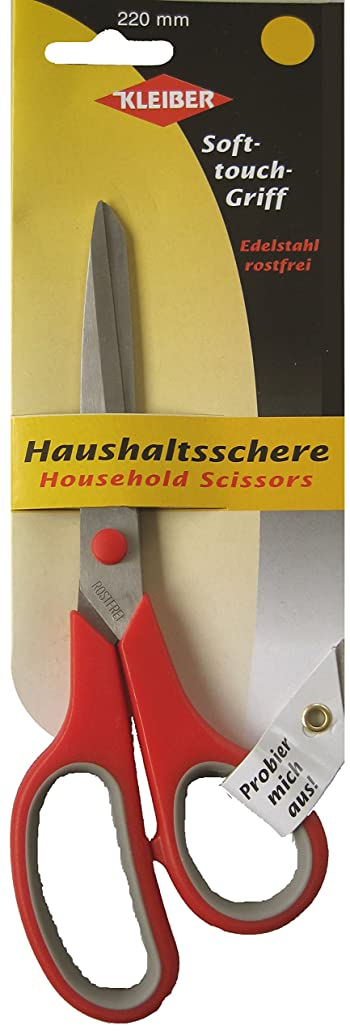 Kleiber 220 mm Stainless Steel General Household Scissors with Handle, Red by Kleiber