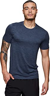 RBX Active Men's Striated Super Soft Stretch Workout Running Athletic Training Short Sleeve Crewneck Tee Shirt