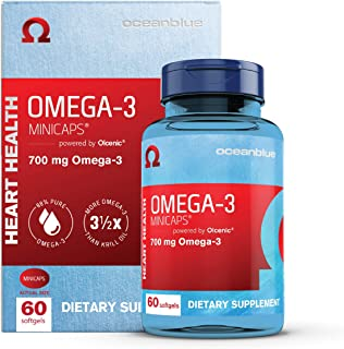 Oceanblue Omega-3 Minicaps – 60 ct – Small Easy to Swallow Burpless Omega-3 Fish Oil Supplement with an Ideal Daily Dose o...