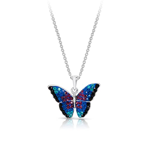 fa5a55036640ae BLING BIJOUX Blue Rainbow Crystal Monarch Butterfly Pendant Never Rust 925  Sterling Silver Natural and Hypoallergenic