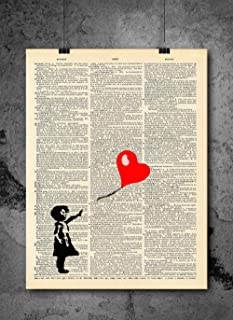 Girl With Heart Balloon Vintage Print - Dictionary Art Print - Vintage Dictionary Print 8x10 inch Home Vintage Art Wall Art for Home Wall For Living Room Bedroom Office Ready-to-Frame