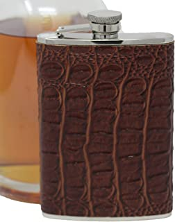 Premium 8 oz Brown Crocodile Leather Pattern 304 (18/8) Food Grade Stainless Steel Hip Alcohol Liquor Flask - BPA free and Leak and Rust Proof - Discrete Drinking Gift