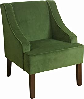 HomePop Velvet Swoop Arm Accent Chair, Dark Green