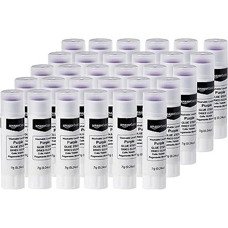 Amazon Basics - Stick di colla vinilica lavabile viola, trasparente una volta asciutta, 7 ml, confezione da 30