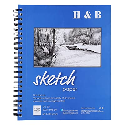 "H  B 9""X12"" Sketch Book, Pad of 100-Sheets, Wir..."