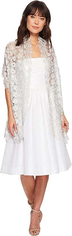 Betsey Johnson Sequin Scallped Edge Crochet Evening Wrap