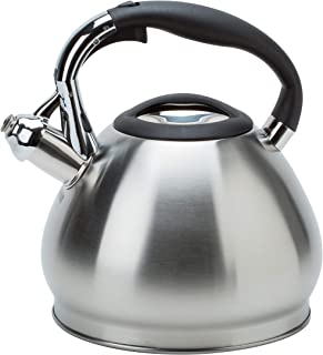 Kitchen Details 3549 14 Cup Stovetop Stainless Steel Whistling Tea Kettle, Satin