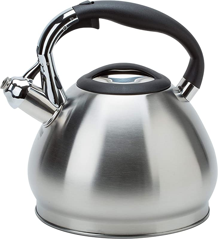 Kitchen Details 3549 14 Cup Stovetop Stainless Steel Whistling Tea Kettle Satin Satin