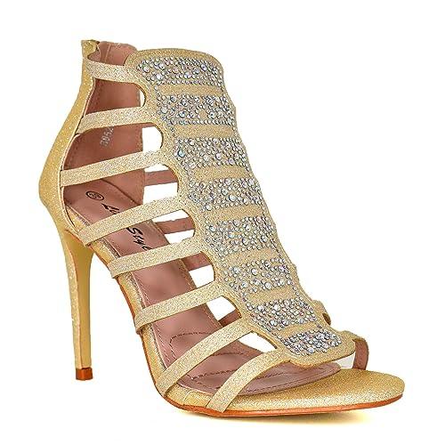 94d12d793245 Ladies Diamante High Heel Shoes Sandals Heels Caged Sandals T-Strap Shoes  Gladiator Sandles Party