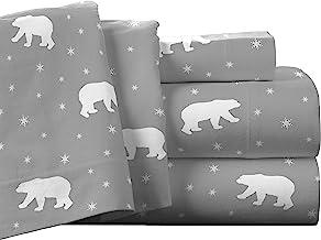 Pointehaven Flannel Deep Pocket Set with Oversized Flat Sheet, Full, Polar Bear