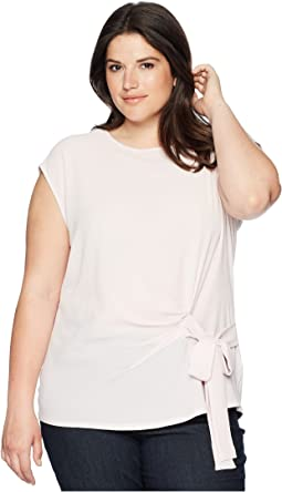 Plus Size Sleeveless Soft Texture Tie Front Blouse