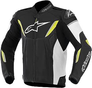 Alpinestars GP-R Leather Men's Riding Jacket (Black/White/Yellow, Size 54)