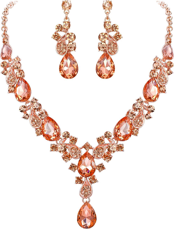 EVER FAITH Women's Wedding Bridal Jewelry Accessory Crystal Elegant Teardrop Leaf Vine Necklace Earrings Set