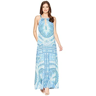 Hale Bob Modern Mosaic Stretch Satin Maxi Dress (Blue) Women