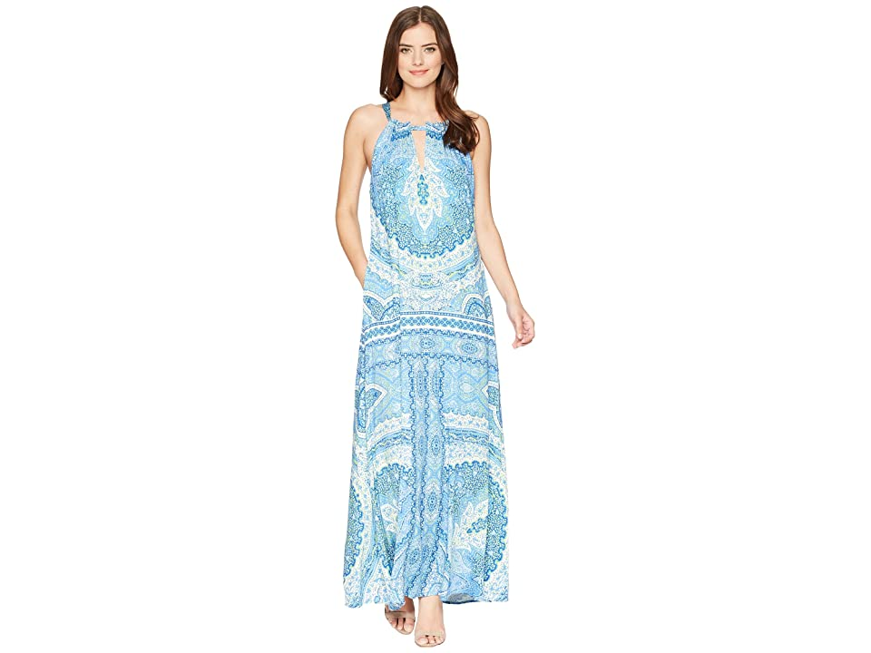 Hale Bob Modern Mosaic Stretch Satin Maxi Dress (Blue) Women