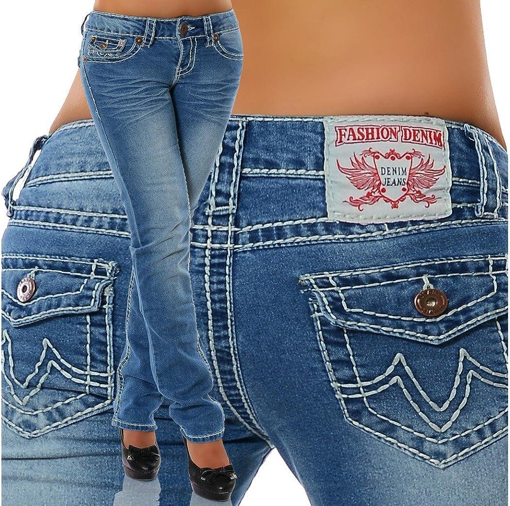 Damen Bootcut Jeans Hose Damenjeans H/üftjeans Gerades Bein Dicke Naht N/ähte H922