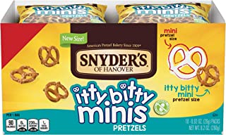 Snyder's of Hanover Pretzels, Itty Bitty Minis, 10 Count (Pack of 6)