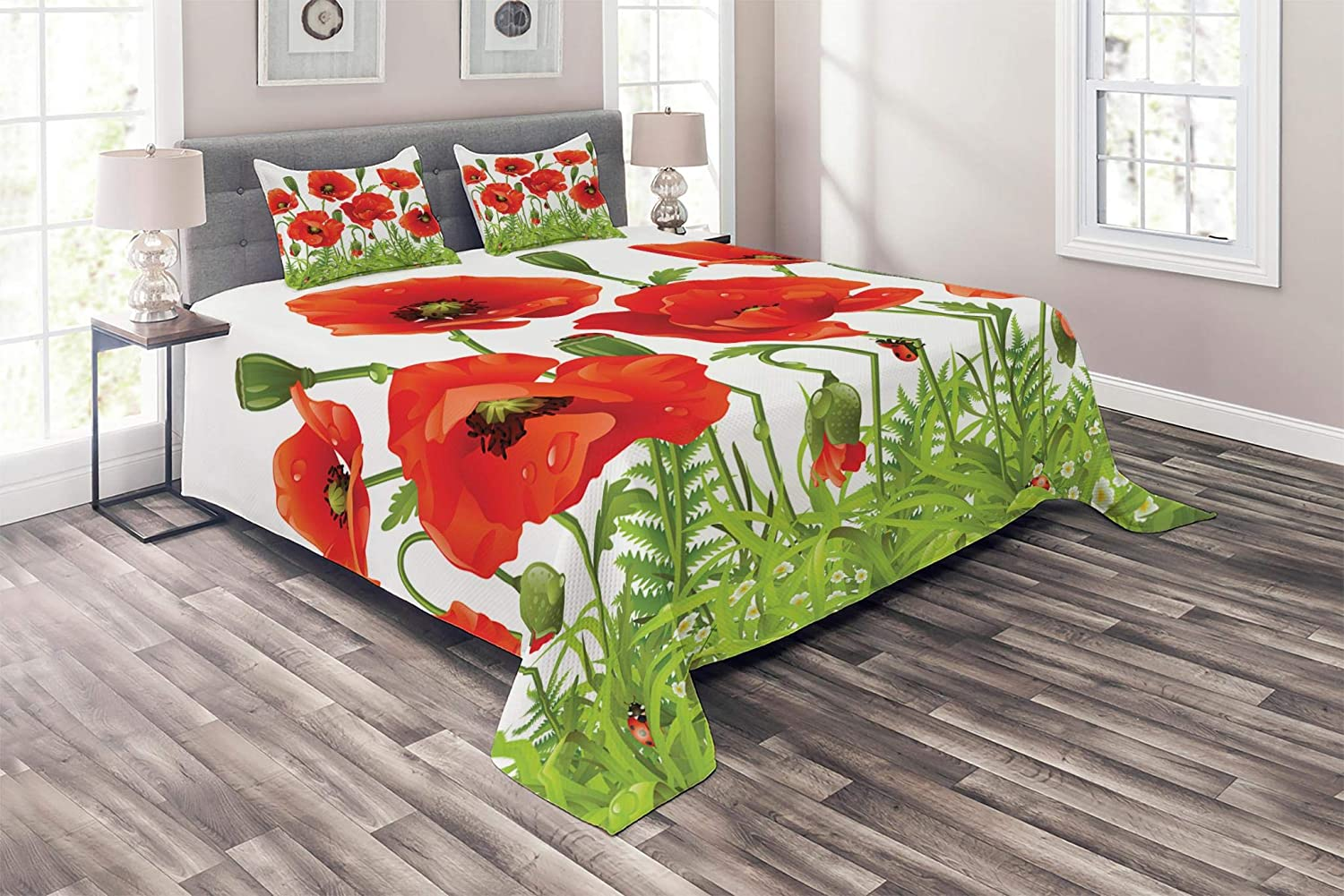 Lunarable Ladybugs Coverlet, Horizontal Border with Red Poppy Flower Bud Poppies Chamomile Wildflowers Lawn, 3 Piece Decorative Quilted Bedspread Set with 2 Pillow Shams, King Size, Green Red