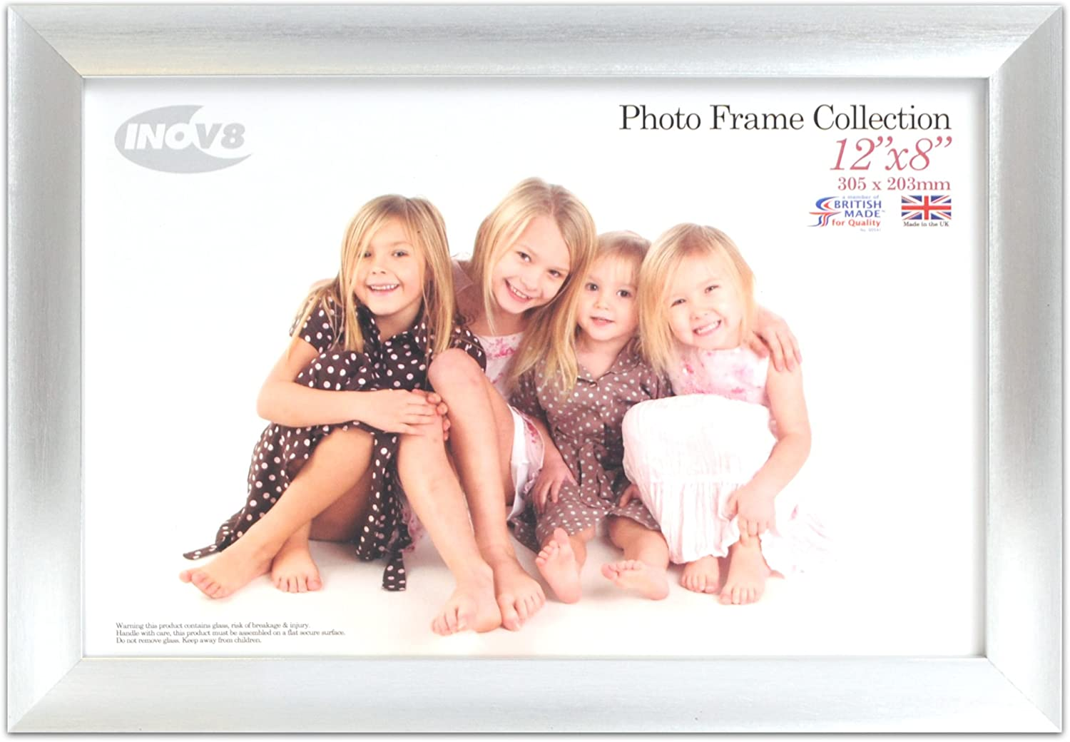 Inov8 British Made Traditional Picture Photo Frame, 12x8-inch, Pack of 4, Scoop Silver