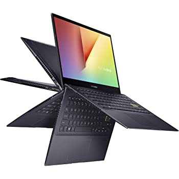 "ASUS VivoBook Flip 14 Thin and Light 2-in-1 Laptop, 14"" FHD Touch Display, AMD Ryzen 5 4500U, 8GB DDR4 RAM, 256GB SSD, Glossy, Stylus, Fingerprint Reader, Windows 10 Home, Bespoke Black, TM420IA-DB51T"