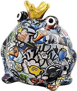 Pomme Pidou | skarbonka ceramiczna | żaba Freddy | Medium | Kolorowa | Ceramiczna skarbonka z otworem na monety i bardzo p...