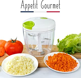 Appetit Gourmet ® Vegetable chopper 5-blade Stainless Manual Chopper 900ml Large Capacity, to chop meat, onions, pesto, parsley, garlic, nuts, baby food 100% efficient mixer 2-in-1 Chopper and Blender