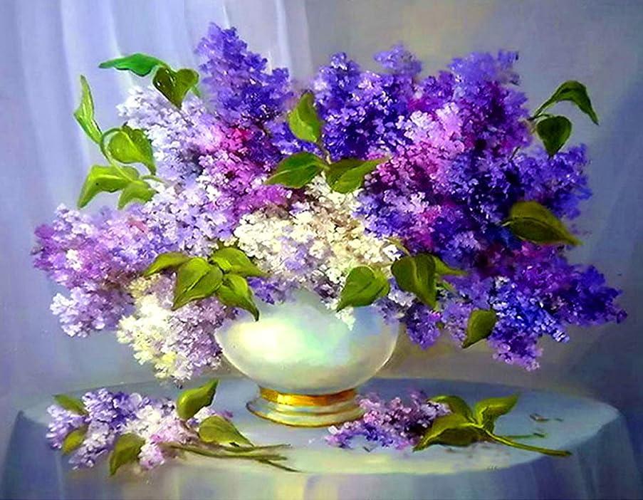 21secret 5D Diamond Diy Painting Full Drill Handmade The Purple Flowers in Vase Cross Stitch Home Decor Embroidery Kit