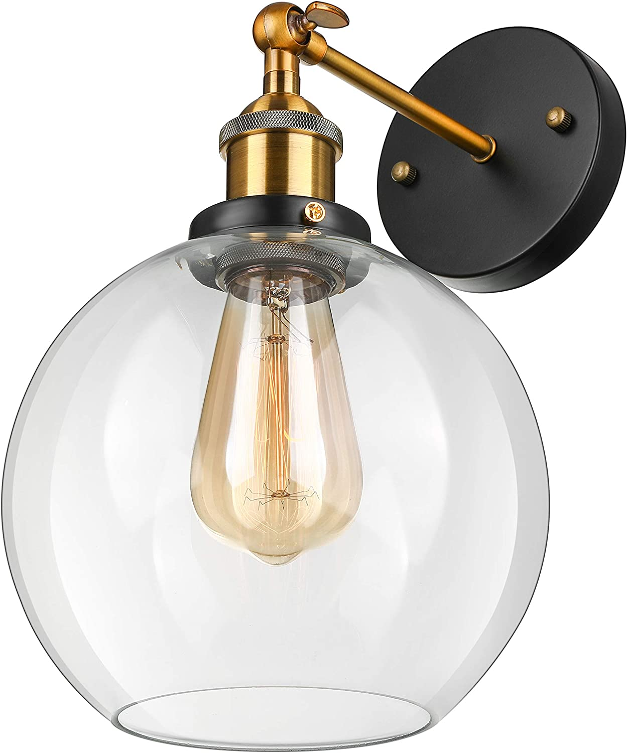 BAYCHEER Industrial Light Fixture Glass Shade Modern Wall Sconce for Bedroom Lobby Modern Wall Sconce Single Wall Decoration Globe Shape Wall Sconce Lighting (Brass)