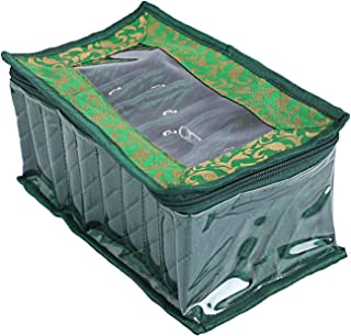 Kuber Industries Laminated Satin Pouch Jewellery Box, Green (CTKTC5318)