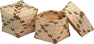 WD-Set of 2 pcs Ego-Friendly Thai Kratip Natural weave Handmade sticky rice bamboo basket Serving Small Steamer Cookware (3 Inch) for restaurant or Gift Natural color