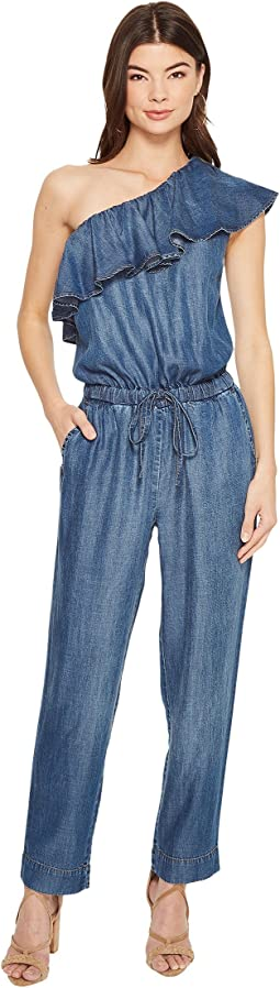 1.STATE - Ruffle Edge One Shoulder Jumpsuit