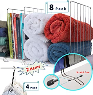 Closet Shelf Dividers for Wood Shelves, Scratch-Free, Shelf Organizer ( 8-Pack ) + Bonus Space Saving Hangers ( 4-Pack ) for Closets, Bathroom, kitchen, Improved design