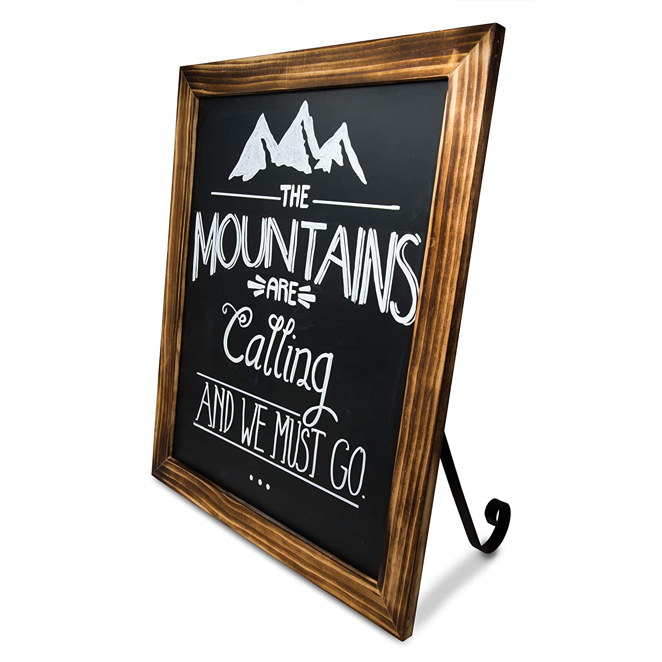 TenXVI Designs 18x22 Freestanding/Hanging Vertical or Horizontal Magnetic Rustic Chalkboard Sign with Removable Legs for Weddings, Restaurants and Home Decor - Torched Wood