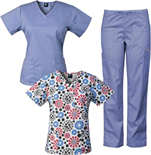 3-Piece Eversoft Stretch Scrubs Set with Printed Top Combo 7895ST