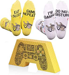 Creasocks Gaming Funny Socks, Novelty, Funky, Quirky, Colourful Gamer Socks for gifts, Cotton, Eat Sleep Game Repeat, I'm ...