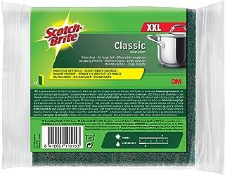 Scotch-Brite CLXNS4 reinigingsspons Classic XXL, extra krachtige vlieszijde, geel/groen, 4-pack
