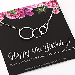 40th Birthday Gift for Women • Sterling Silver Jewelry • Four Connected Circles • 4 Decades Celebration • 40 Years Old • Happy Fortieth Birthday Gifts • 4 Interlocking Rings Necklace for Women